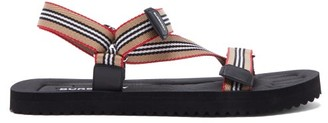 Burberry Patterson Icon-stripe Sandals - Black