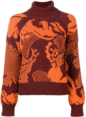 Barrie Stencil Garden cashmere turtleneck pullover
