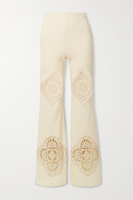 Acne Studios - Crochet-trimmed Cotton-blend Straight-leg Pants - Ecru