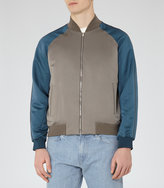 Reiss Reiss Humble - Varsity Bomber Jacket In Grey