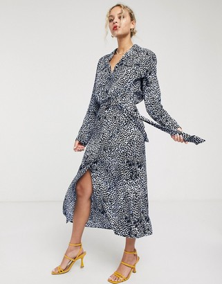 And other stories & leopard print tie-waist midi dress in blue
