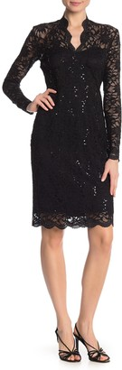 Marina Scalloped Sequined Lace Sheath Dress