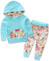 XUNYU 0-2T Baby Girls Cotton Floral Hooded Hoodies Casual Pants Clothing Set Outfits