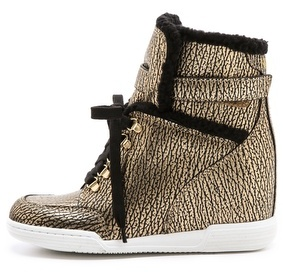 Marc by Marc Jacobs Sherpa Lined Metallic Wedge Sneakers