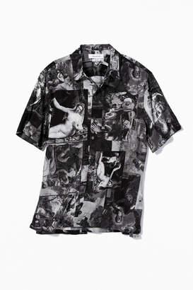 Urban Outfitters Art Motif Short Sleeve Button-Down Shirt