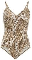 Norma Kamali Wonderwoman Mio Python-print Swimsuit - Womens - Grey Print