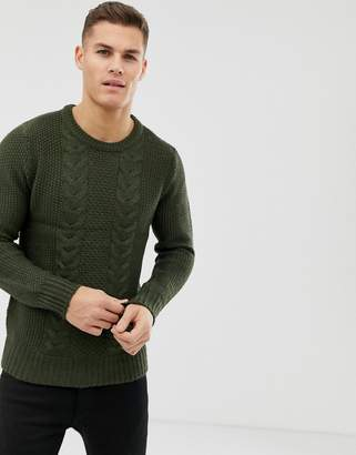 Brave Soul Cable Knit Sweater-Green
