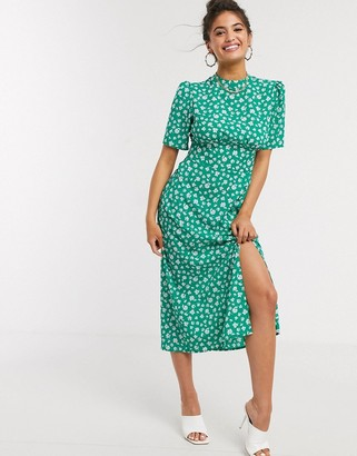 Asos DESIGN midi tea dress with buttons and split detail in green floral print