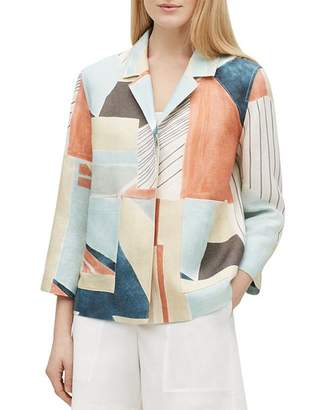 Lafayette 148 New York Layken Abstract-Print Linen Jacket