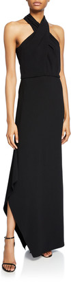 Halston Cross-Neck Crepe Gown