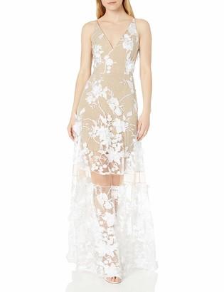 Dress the Population Women's Gigi Plunging Spaghetti Strap Floral Long Dress