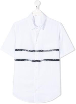 Balmain Kids TEEN logo short-sleeve shirt
