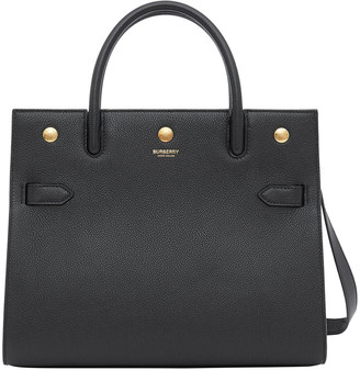 Burberry Title Small Grainy Leather Double-Handle Tote Bag