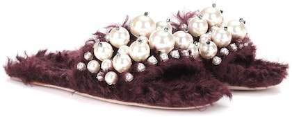 Miu Miu Embellished faux fur slippers