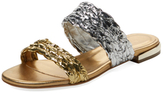 Aperlaï Braided Metallic Leather Slip-On Sandal