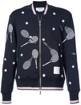 Thom Browne tennis embroidery zipped sweatshirt