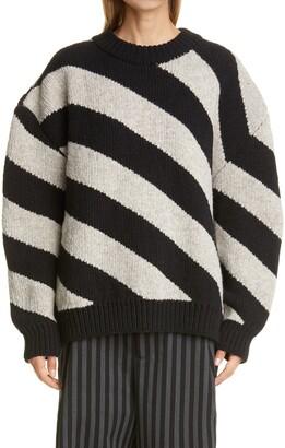Meryll Rogge Diagonal Stripe Double Face Wool Sweater