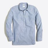 J.Crew Factory Striped washed popover shirt in cotton-linen