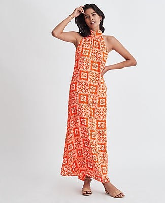 Ann Taylor Petite Tiled Halter Maxi Dress