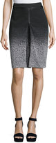 Neiman Marcus Chevron-Pattern A-Line Skirt, Black/Gray