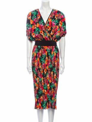 Diane von Furstenberg Floral Print Midi Length Dress w/ Tags Black
