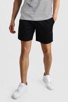boohoo Mens Black Elastic Waistband Slim Fit Mid Length Chino Short, Black