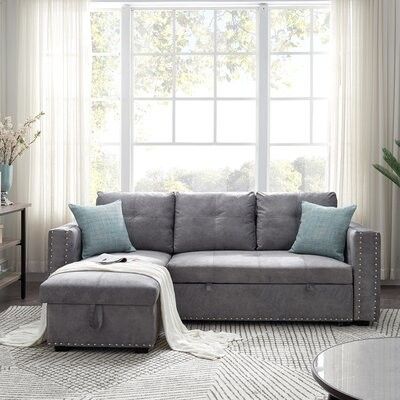 """Thumbnail for your product : Red Barrel Studio 91"""" Wide Reversible Sleeper Sofa & Chaise"""