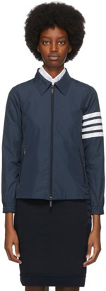 Thom Browne Navy Flyweight 4-Bar Gusset Jacket