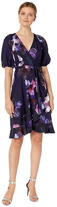 Adrianna Papell Dreamy Hibiscus Wrap Dress (Plum Multi) Women's Dress