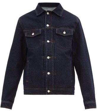 Officine Generale Liam Topstitched Denim Jacket - Mens - Blue