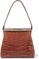 Valentino Crystal-embellished alligator shoulder bag