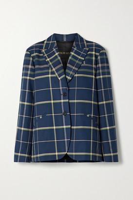 Stine Goya Vina Oversized Checked Cotton Blazer - Navy