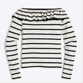 J.Crew Factory Ruffle off-the-shoulder stripe sweater