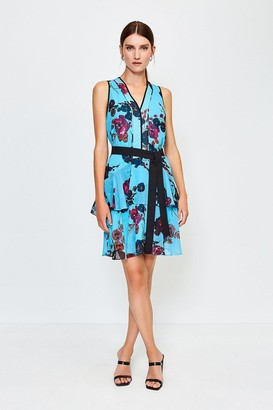 Karen Millen Floral Print Ruffle Short Dress