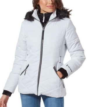 Free Country Quilted Coat With Faux Fur Hood & Interior Bib