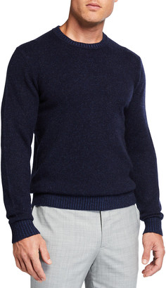Neiman Marcus Men's Plaited Crewneck Cashmere Sweater