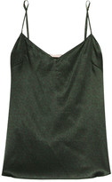 Stella McCartney Ellie Leaping Leopard-print Stretch-silk Camisole - Dark green