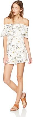 Lucca Couture Women's Tessa OTS Ruffle Romper w/Corset Back