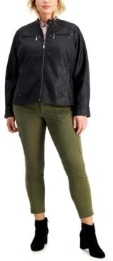 Joujou Jou Jou Juniors' Trendy Plus Size Faux-Leather Jacket