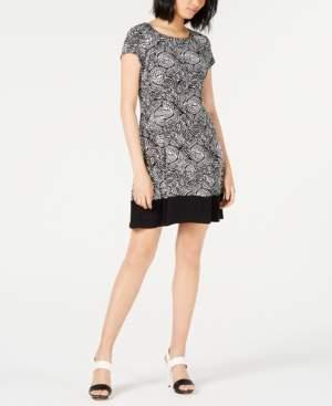 Connected Petite Puff-Paint Border Dress