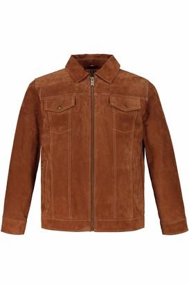 JP 1880 Men's Big & Tall Suede Zipper Front Jacket Camel XX-Large 720236 35-XXL