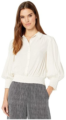 1 STATE 1.STATE Smocked Waist Button-Down Jacquard (Soft Ecru) Women's Clothing