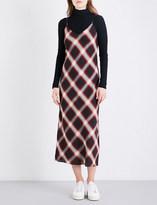 Vince Spaghetti-strap check-print slip dress