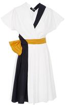 Paule Ka Colorblock Cotton Poplin Dress with Pockets