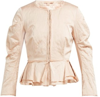 Brock Collection Orth Peplum Hammered-twill Jacket - Pink