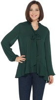Dennis Basso Woven Peplum Top with Scarf
