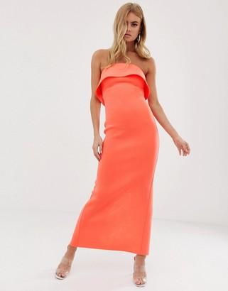 Asos Design DESIGN Bandeau tuck back maxi dress-Orange