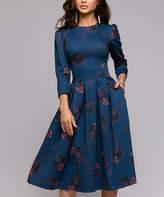 Br.Uno Ricco Women's Casual Dresses Dark - Dark Blue Floral Three-Quarter Sleeve Fit & Flare Dress - Women & Plus