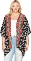 Angie Women's Plus Size Printed Kimono Cardigan