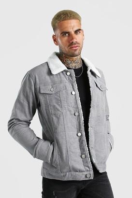 boohoo Mens Grey Cord Jacket With Borg Collar, Grey